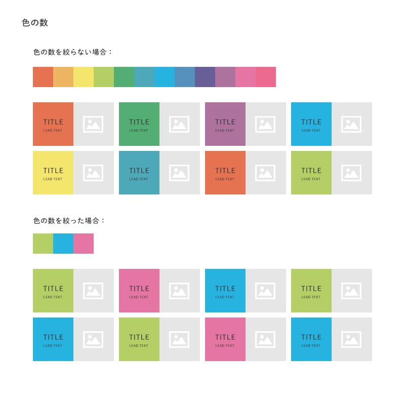 色の数を絞らない・絞った場合の例の図